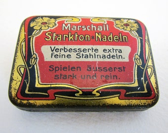 German Marschall Starkton Stahl Nadeln Gramophone Needle Metal Tin Case Box. Early 20th-Century. Antique/Vintage.
