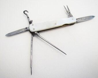 Antique/Vintage (c1910) 6 Multi Tool, Mother of Pearl MOP Carbon Steel Folding Lobster Pen Knife Fruit Sportsman Pin Penknife.