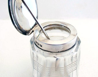 Early 20th-century (1921) Solid Sterling SILVER Top Lidded & Cut Glass Mustard Condiment Pot. Antique/Vintage
