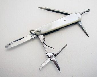 JOSEPH WESTBY (c1910) Sheffield Small/Miniature Multi Tool, Mother of Pearl MOP Folding Lobster Manicure Pen Knife Fruit Sportsman Penknife