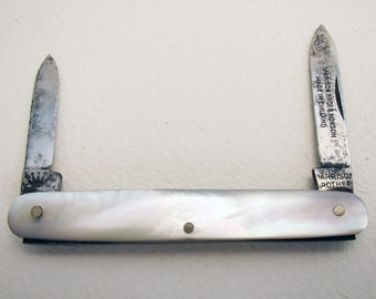 Harrison Brothers & Howson (c1910) Mother of Pearl Steel 2 Bladed Double Folding Pocket English Fruit Pen Knife Penknife. Antique/Vintage.
