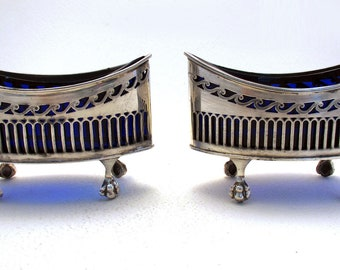 Large Heavy Pair (138g) Victorian Navette Shape PIERCED Antique Solid Sterling Silver hallmarked MASTER SALTS. Original Blue Glass liners