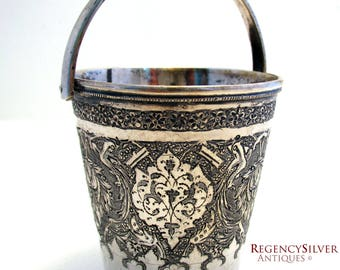 Beautiful Persian Islamic Middle Eastern Hand Engraved SOLID SILVER .900 Small Cup Beaker with Handle