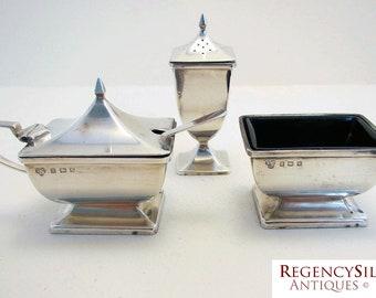 Beautiful SELFRIDGES (1920) three-piece Solid Sterling Silver Art Deco Cruet Set  (salt cellar, pepper pot, mustard pot). Selfridge & Co.