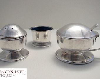 RARE Liberty & Co. Arts and Crafts Mushroom Shape Solid Sterling Silver CRUET Set  (salt cellar, pepper pot, mustard pot, glass liner)