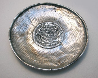 Republic of China Chinese Antique (c1910) Solid Silver Small Dish/Bowl/Coaster, with Bamboo Dragon & Hammered Planished decorations.