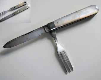 Rare Antique (c1900) Folding Knife+Fork SINGLETON PRIESTMAN Mother of Pearl, Razor Steel English Sheffield Multi Tool Pocket Fruit Penknife.