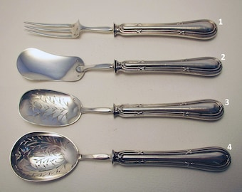 Antique French (c1890) Sterling SILVER Hors d'oeuvre Server. Fork, Sifter, Ladle, Spoon. 19th-century