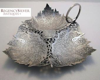 Rare KASHMIR/KASHMIRI (c1890) Antique Indian Colonial era Solid Silver Sweetmeat Dish/Bowl. Chinar leaves. 19th-century. Monogram T.
