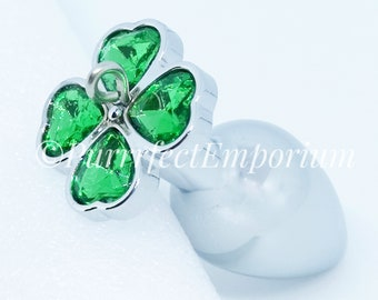 5a87585261e Adult Steel Butt Plug Green Clover Detachable Jeweled Naughty Play Kinky  BDSM Sex Toy Small Anal Plug Suitable for Attaching Kitten Tail