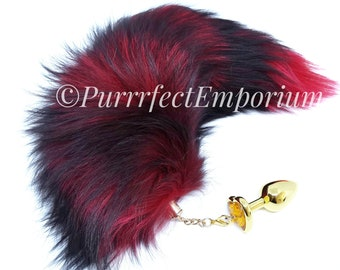 cc0fa27ea Add On - Adult Wolf Fox Cat Tail Detachable for Butt Anal Plug Kitten Play  Fur BDSM Sexy Toy Pet Pup Red Black Fur Jeweled Plug Attachment