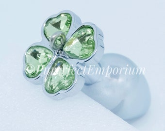 cd76a4d8d61 Adult Steel Butt Plug Soft Green Clover Detachable Jewel Naughty Play Kinky  BDSM Sex Toy Small Anal Plug Suitable for Attaching Kitten Tail