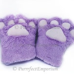 Purple Fur Cat Paws Gloves Wolf Bear Dog Hands Mittens Necomimi Cosplay Costume Claws Neko Kitten Play Anime Custume Soft for Adults 1 Pair