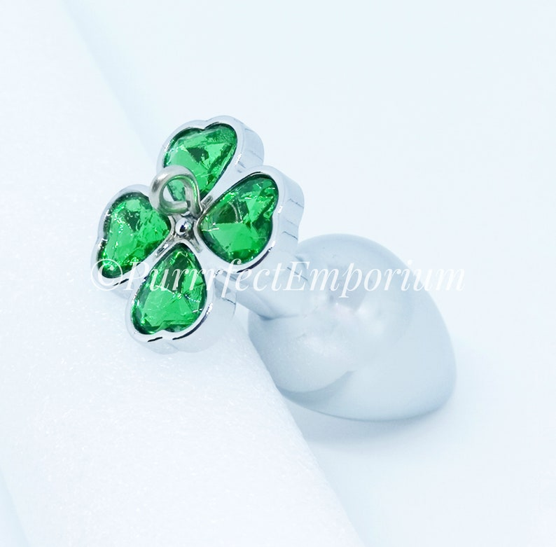 9bf397f20 Adult Steel Butt Plug Green Clover Detachable Jeweled Naughty
