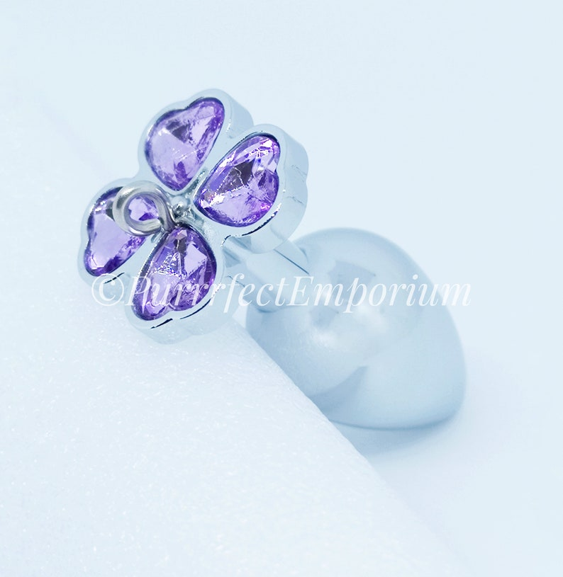 3526c67ac Adult Steel Butt Plug Soft Purple Clover Detachable Jewel