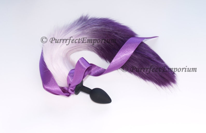 fbbb876a7 Adult Tail Silicone Butt Plug Purple 2 Tone Wolf Cat Dog