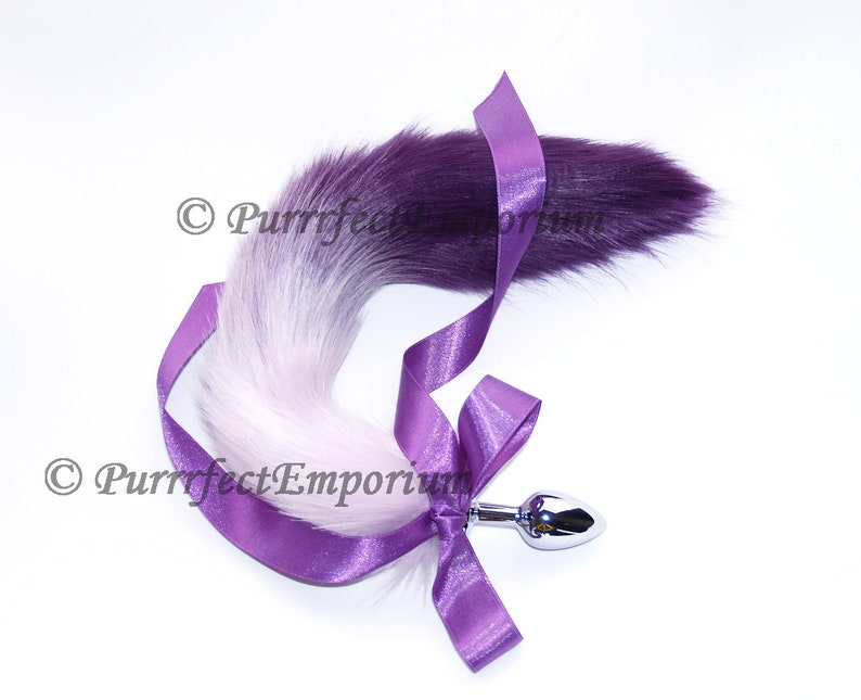 3859a4efc Adult Tail Metal Butt Plug Purple 2 Tone Wolf Cat Dog