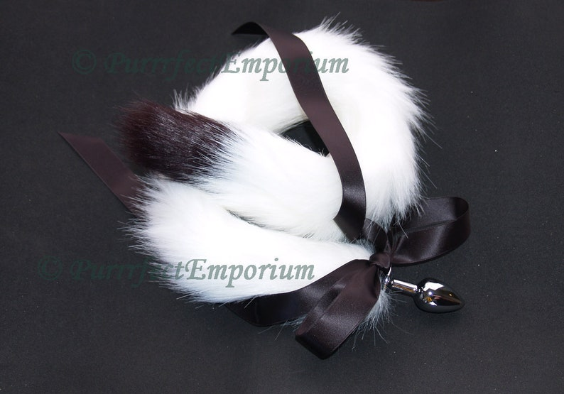 7ace7f041df Adult Tail Butt Plug Silver Metal White Black Wolf Cat Dog