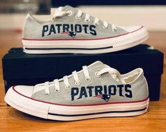 0740b63aa2429b Custom Grey New Patriots Logo or Sports Team Logo Painted Converse  NFL