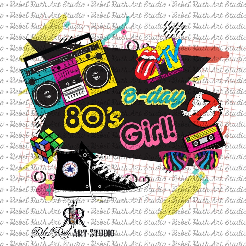 Retro 80's Birthday GIRL Matching T-shirt Design, PNG File, Printable  Transfer Design, Digital File, Sublimation Design