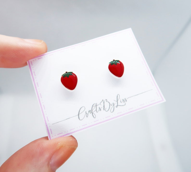 Fruity Summer Strawberry Silver Plated Studs