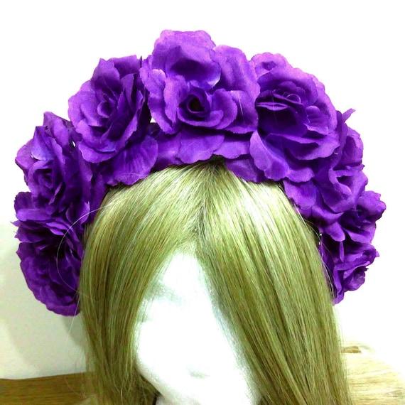 Flower Crown Purple: Violet Flower Crown Dark Purple Floral Headband Princess