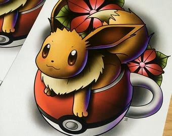 Eevee Pokemon Tattoo Art Print