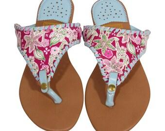 5e616a275 T-strap Monogrammed Sandals Sizes 6-11