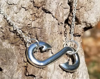 Fish Hook Infinity Necklace, Fishing Jewelry, Fish Hook Necklace, Fishing Gift