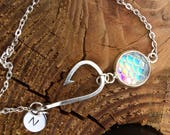 Hand stamped initial bracelet, Fishing Bracelet, Mermaid Party Bracelet, Personalized Fish Hook Bracelet with Mermaid Charm