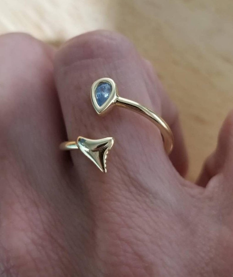 Adjustable Shark Tooth Ring Gold Beach Jewelry Sterling image 0