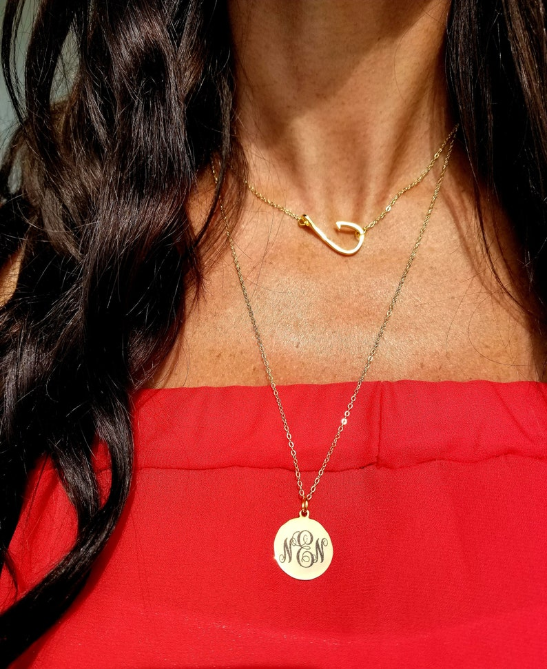 Monogrammed Disc Necklace Monogram Necklace Personalized image 0
