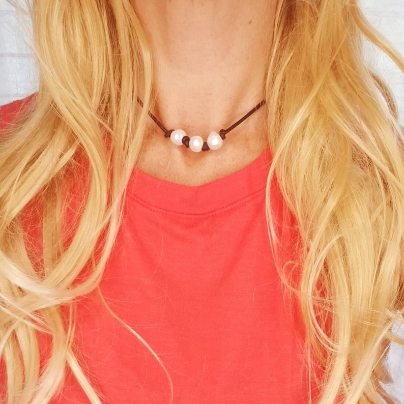 Genuine Pearl and Leather Necklace Triple Pearl Choker Large image 0