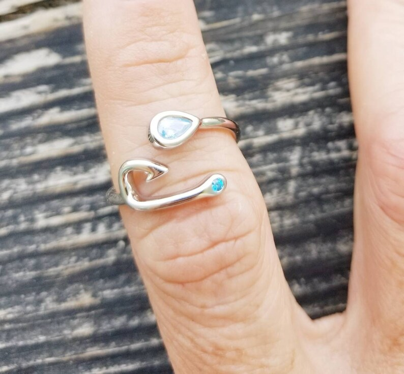 Fishing Hook Ring Fishing Jewelry Beach Jewelry Adjustable Fish Hook Ring Gift for Girlfriend Sterling Silver Fishing Jewelry
