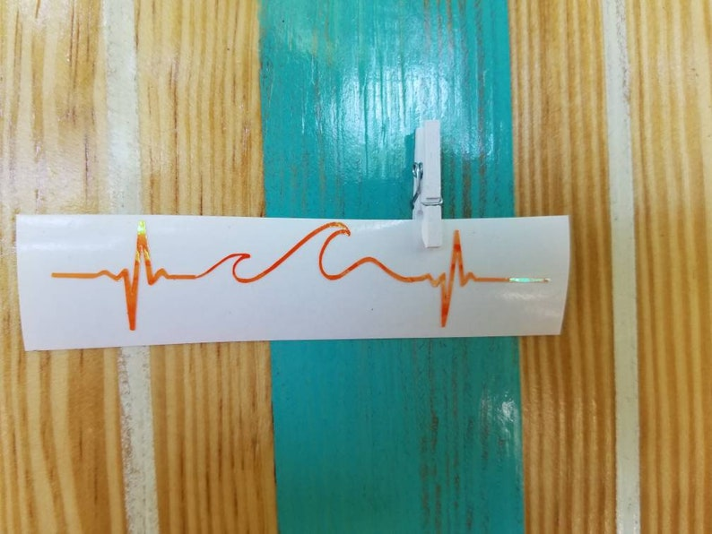 Lifeline Wave Decal Beach Decals Wave Heartbeat Decal Wave image 0