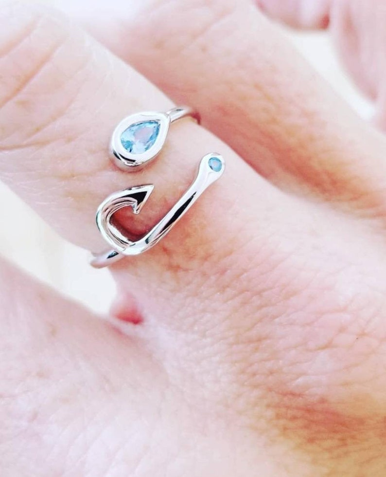 Adjustable Fish Hook Ring Sterling Silver Fishing Jewelry image 0