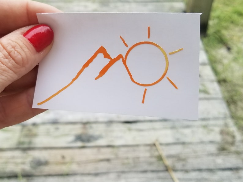 Mountain and Sun Car Decal Mountain Decal Mountain Stickers image 0