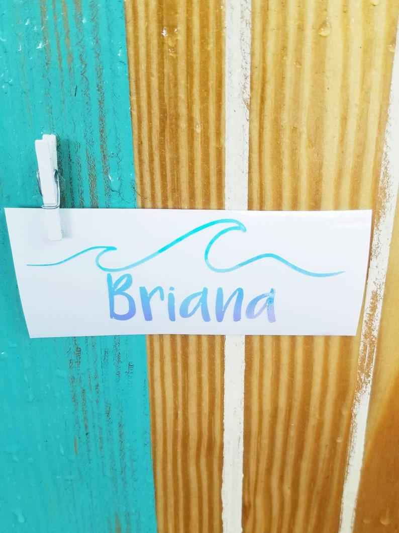 Wave with Name Decal Wave Car Decal Wave Stickers Name image 0