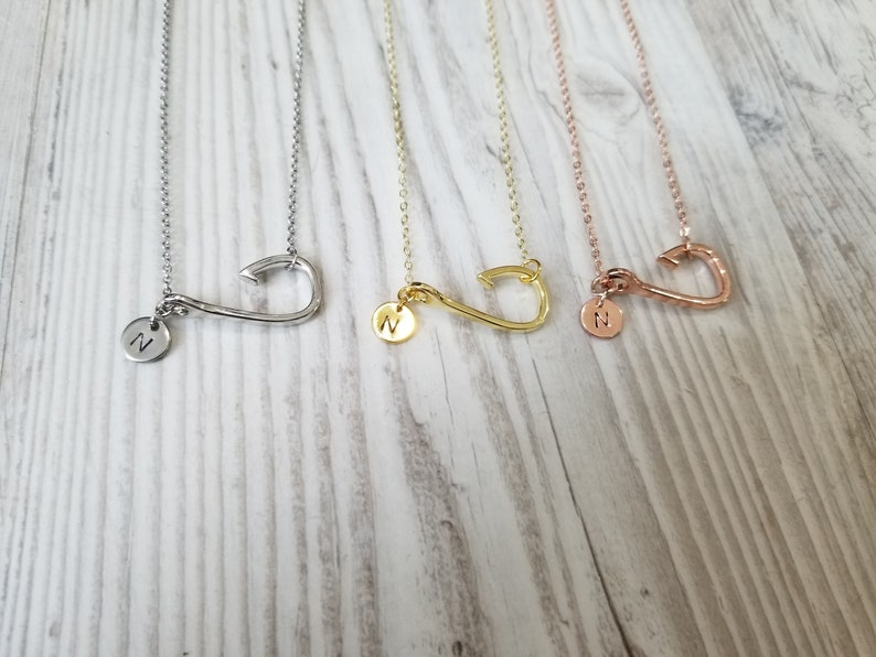 Personalized Fish Hook Necklace Rose Gold Beach Necklace image 0