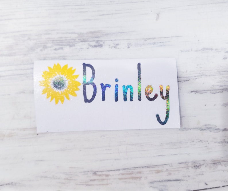 Personalized Sunflower Decal Sunflower with Name Car Decal image 0