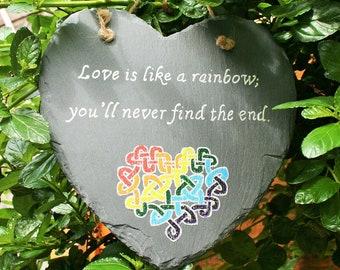 Rainbow Heart Plaque; Valentine Hearts; hand painted slate hanging heart plaque; Rainbow Heart in Celtic Knotwork; Love Heart Plaque;