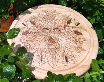 Green Man Bread Board; Summer Green Man; Hawthorn Man; Wooden Bread Board; Hand burnt board; Round Chopping Board; Celtic Nature board;