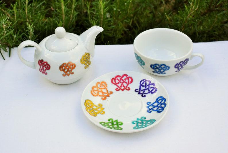 Rainbow Hearts Tea for One Set; Hand painted Cup Saucer /& Teapot; Rainbow Celtic Heart Tea Set; Valentine Hearts; Teatime Pride; LGBTQ Gift