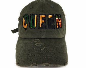 c7fad0ca7f8339 Queen Kente Distressed Dad hat