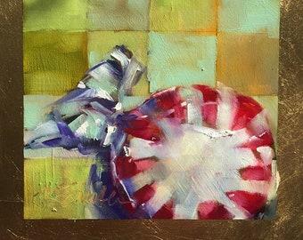 peppermint candy // candy art // candy painting // original art // oil painting // daily painting // daily art // vintage candy art // art