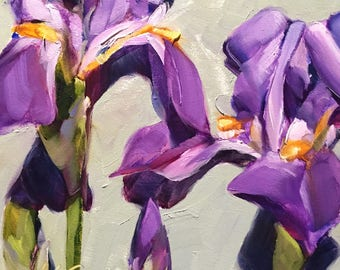 floral wall art | iris painting | iris art | purple iris painting | purple flower painting | purple flower art | floral wall decor