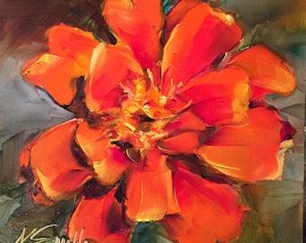 marigold wall art | floral wall decor | marigold painting | orange flower | floral wall art | flower art | flower painting | original art