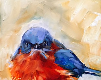 Bird painting   bluebird painting   bluebird art   animal art   bird art   original art   original bluebird painting   fine art