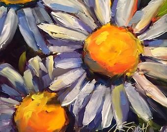 daisy painting   daisy art   original art   white daisy art   flower painting   flower art   floral painting   floral art   gift for her