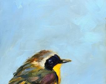 Bird painting // yellowthroat bird // yellowthroat bird // Home decor // bird art // bird painting // original art // original painting